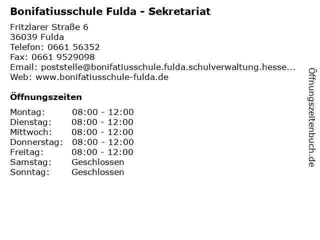 Bonifatiusschule Fulda - Sekretariat in Fulda: Adresse und Öffnungszeiten