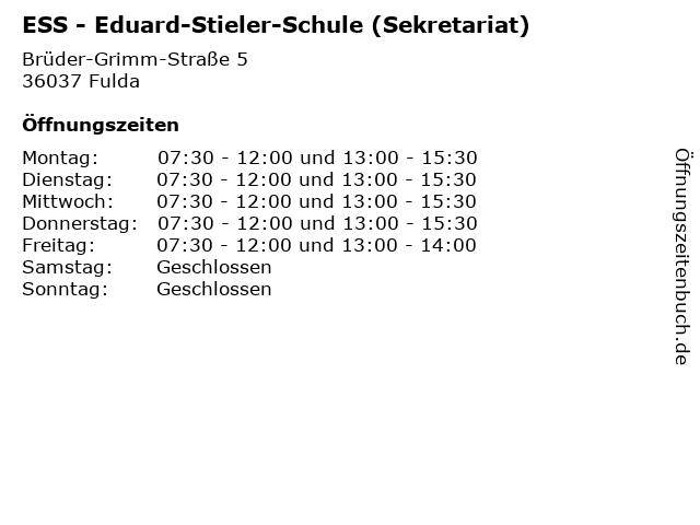 ESS - Eduard-Stieler-Schule (Sekretariat) in Fulda: Adresse und Öffnungszeiten