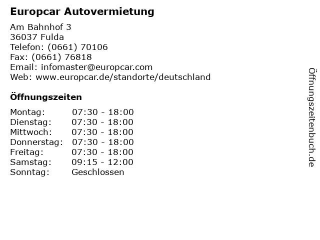 ᐅ Offnungszeiten Europcar Autovermietung Am Bahnhof 3 In Fulda