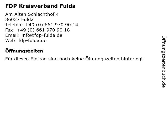 FDP Kreisverband Fulda in Fulda: Adresse und Öffnungszeiten