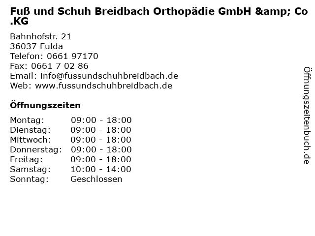 Fuß und Schuh Breidbach Orthopädie GmbH & Co.KG in Fulda: Adresse und Öffnungszeiten
