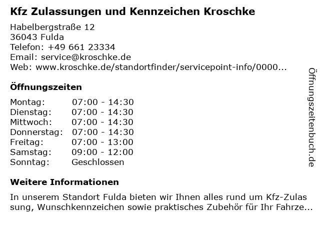 Kfz Zulassungen und Kennzeichen Kroschke in Fulda: Adresse und Öffnungszeiten