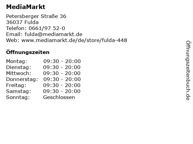 Media Markt TV-Hifi-Elektro GmbH in Fulda: Adresse und Öffnungszeiten