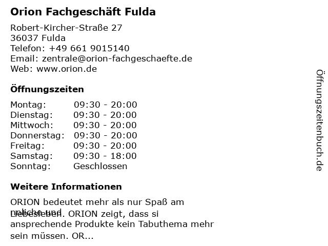 Orion Fachgeschäft Fulda in Fulda: Adresse und Öffnungszeiten