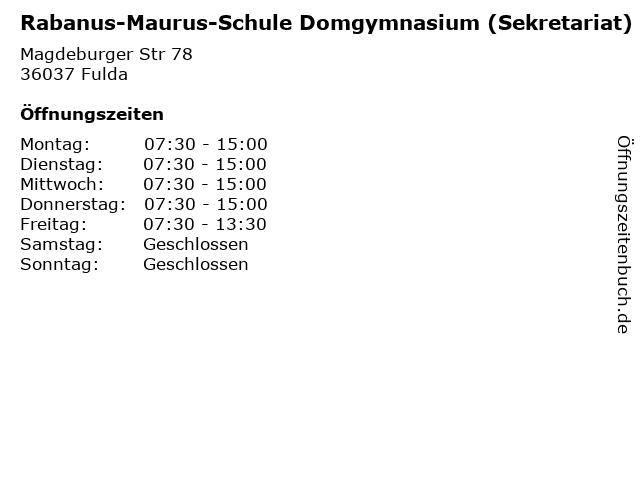 Rabanus-Maurus-Schule Domgymnasium (Sekretariat) in Fulda: Adresse und Öffnungszeiten