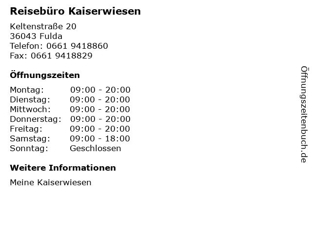 Reisebüro Kaiserwiesen in Fulda: Adresse und Öffnungszeiten