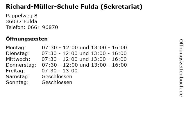 Richard-Müller-Schule Fulda (Sekretariat) in Fulda: Adresse und Öffnungszeiten