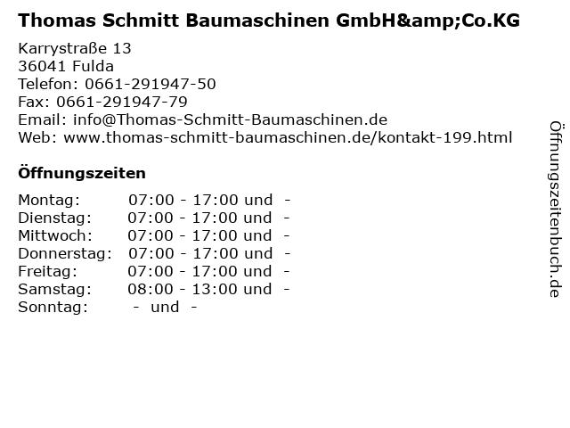 Thomas Schmitt Baumaschinen GmbH&Co.KG in Fulda: Adresse und Öffnungszeiten