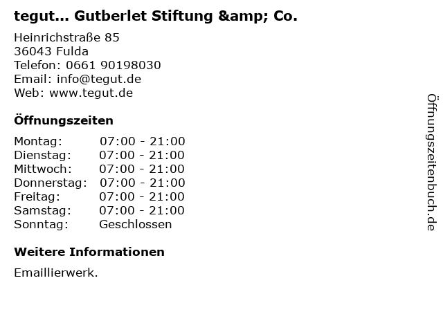 tegut... Gutberlet Stiftung & Co. in Fulda: Adresse und Öffnungszeiten