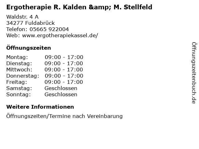 Ergotherapie R. Kalden & M. Stellfeld in Fuldabrück: Adresse und Öffnungszeiten