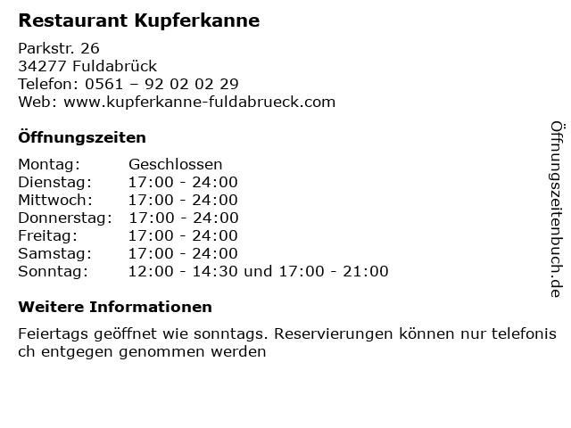Restaurant Kupferkanne in Fuldabrück: Adresse und Öffnungszeiten
