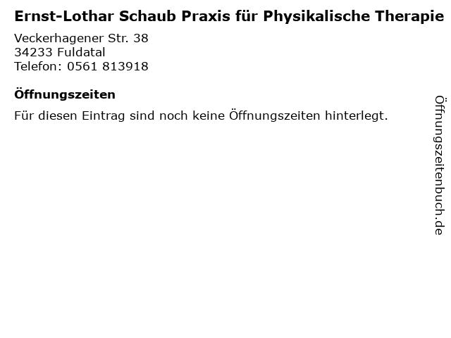 Ernst-Lothar Schaub Praxis für Physikalische Therapie in Fuldatal: Adresse und Öffnungszeiten