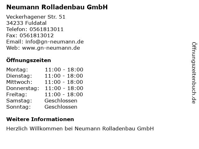 Neumann Rolladenbau GmbH in Fuldatal: Adresse und Öffnungszeiten