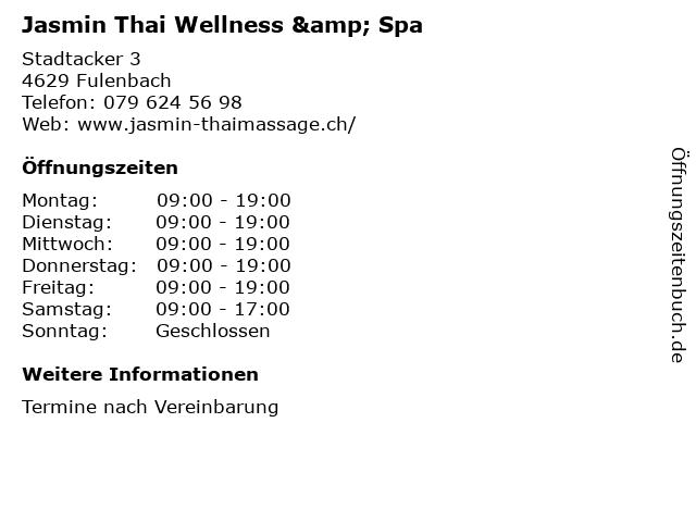 Jasmin Thai Wellness & Spa in Fulenbach: Adresse und Öffnungszeiten