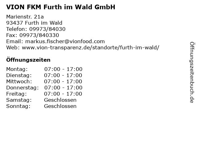 VION FKM Furth im Wald GmbH in Furth im Wald: Adresse und Öffnungszeiten