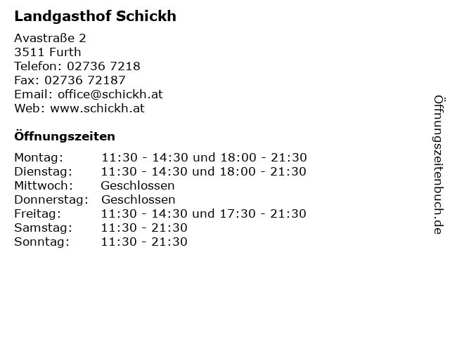 Landgasthof Schickh in Furth: Adresse und Öffnungszeiten