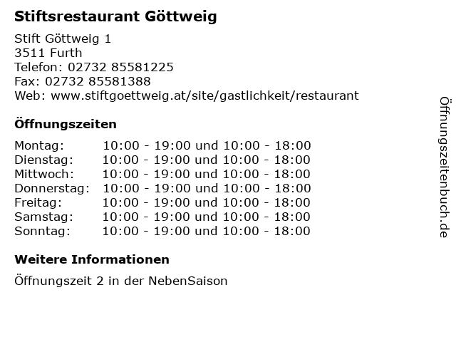 Stiftsrestaurant Göttweig in Furth: Adresse und Öffnungszeiten