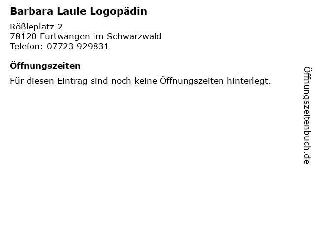 Barbara Laule Logopädin in Furtwangen im Schwarzwald: Adresse und Öffnungszeiten