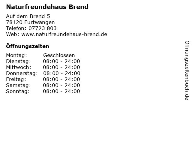 Naturfreundehaus Brend in Furtwangen: Adresse und Öffnungszeiten