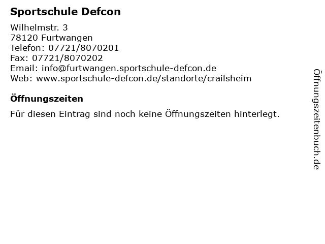 Sportschule Defcon in Furtwangen: Adresse und Öffnungszeiten