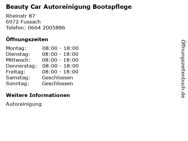 Beauty Car Autoreinigung Bootspflege in Fussach: Adresse und Öffnungszeiten