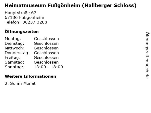 Heimatmuseum Fußgönheim (Hallberger Schloss) in Fußgönheim: Adresse und Öffnungszeiten