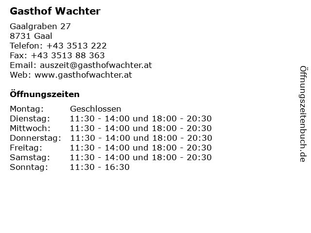 Gasthof Wachter in Gaal: Adresse und Öffnungszeiten