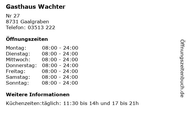 Gasthaus Wachter in Gaalgraben: Adresse und Öffnungszeiten