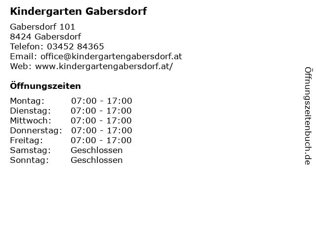 Kindergarten Gabersdorf in Gabersdorf: Adresse und Öffnungszeiten
