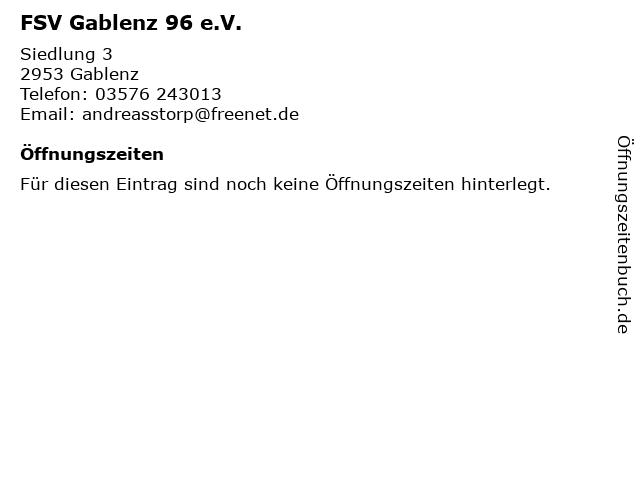 FSV Gablenz 96 e.V. in Gablenz: Adresse und Öffnungszeiten