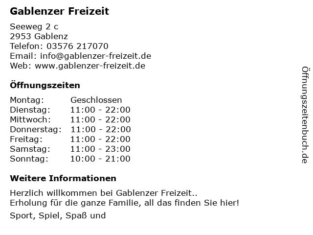 Gablenzer Freizeit in Gablenz: Adresse und Öffnungszeiten