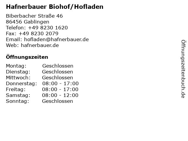 Hafnerbauer Biohof/Hofladen in Gablingen: Adresse und Öffnungszeiten
