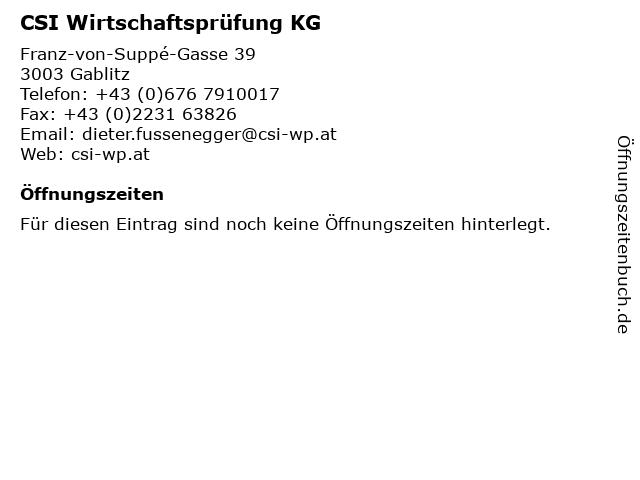 CSI Wirtschaftsprüfung KG in Gablitz: Adresse und Öffnungszeiten