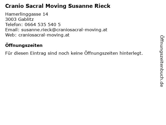 Cranio Sacral Moving Susanne Rieck in Gablitz: Adresse und Öffnungszeiten
