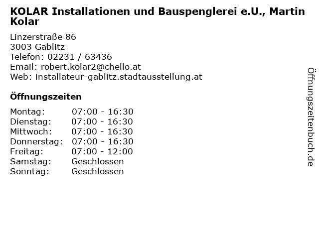 KOLAR Installationen und Bauspenglerei e.U., Martin Kolar in Gablitz: Adresse und Öffnungszeiten