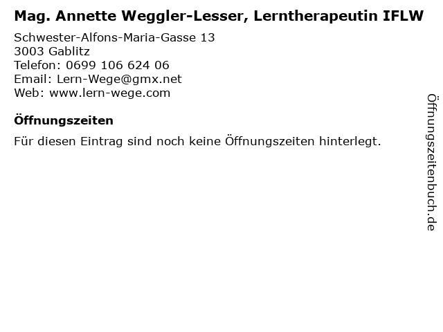 Mag. Annette Weggler-Lesser, Lerntherapeutin IFLW in Gablitz: Adresse und Öffnungszeiten