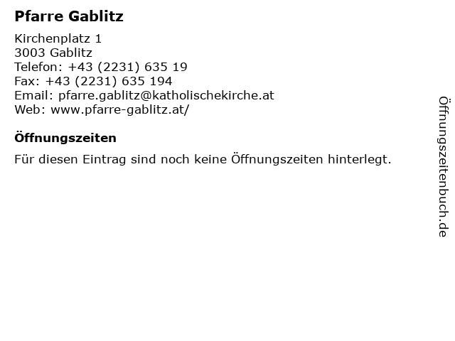 Pfarre Gablitz in Gablitz: Adresse und Öffnungszeiten