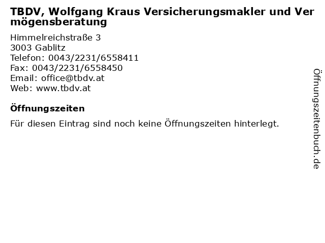 TBDV, Wolfgang Kraus Versicherungsmakler und Vermögensberatung in Gablitz: Adresse und Öffnungszeiten