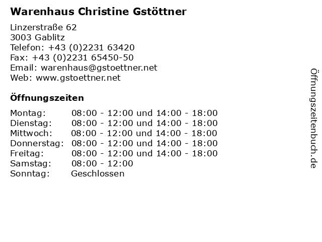 Warenhaus Christine Gstöttner in Gablitz: Adresse und Öffnungszeiten