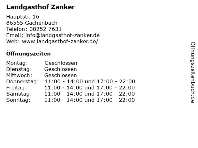 Landgasthof Zanker in Gachenbach: Adresse und Öffnungszeiten