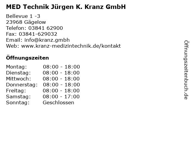 MED Technik Jürgen K. Kranz GmbH in Gägelow: Adresse und Öffnungszeiten