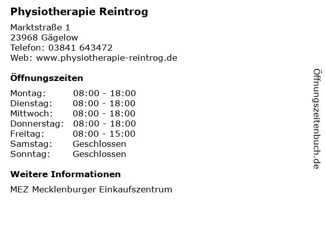 Physiotherapie Reintrog in Gägelow: Adresse und Öffnungszeiten
