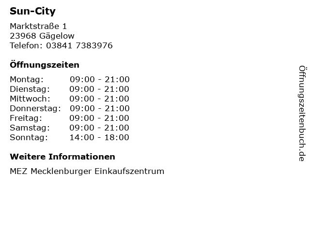 Sun-City in Gägelow: Adresse und Öffnungszeiten