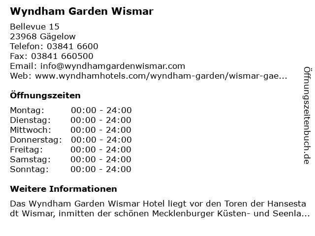 Wyndham Garden Wismar in Gägelow: Adresse und Öffnungszeiten