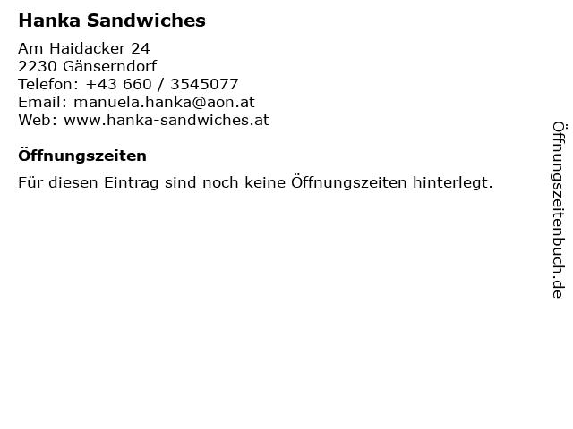 Hanka Sandwiches in Gänserndorf: Adresse und Öffnungszeiten