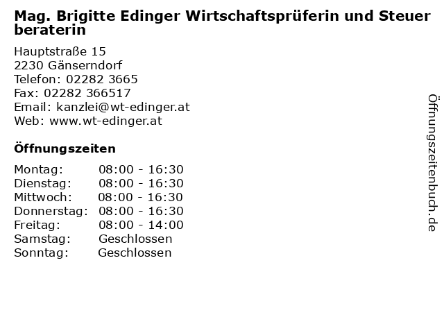 Mag. Brigitte Edinger Wirtschaftsprüferin und Steuerberaterin in Gänserndorf: Adresse und Öffnungszeiten