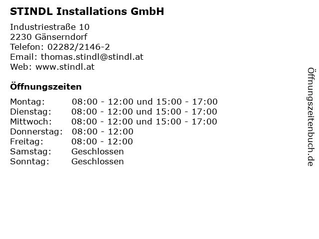 STINDL Installations GmbH in Gänserndorf: Adresse und Öffnungszeiten