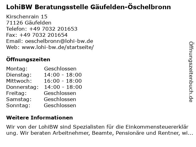 LohiBW Beratungsstelle Gäufelden-Öschelbronn in Gäufelden: Adresse und Öffnungszeiten