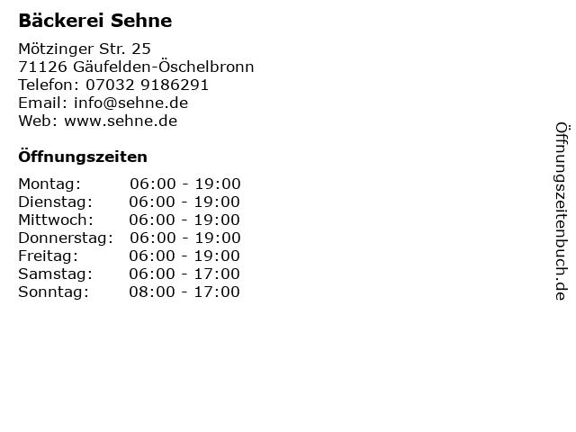 Bäckerei Sehne in Gäufelden-Öschelbronn: Adresse und Öffnungszeiten