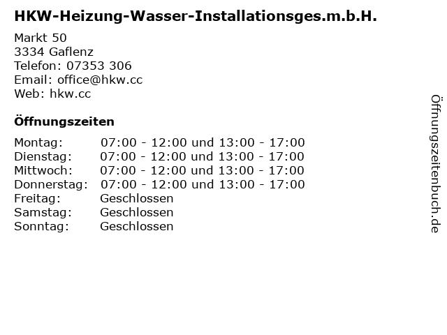HKW-Heizung-Wasser-Installationsges.m.b.H. in Gaflenz: Adresse und Öffnungszeiten